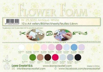 LeCrea - 10 Flower Foam A4 0,8mm antiek wit