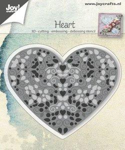 Joy! stencil Heart gevuld met swirls en blaadjes 6002/0786
